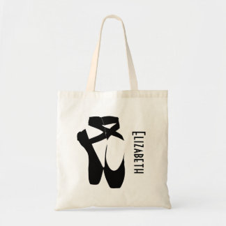 Personalized Black Ballet Shoes En Pointe Tote Bag