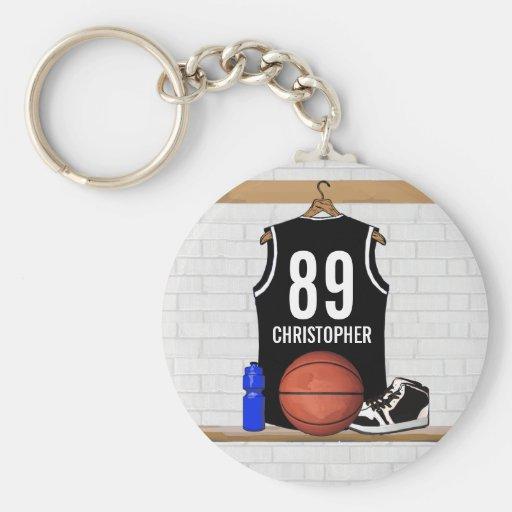 Personalized Black Basketball Jersey Keychain