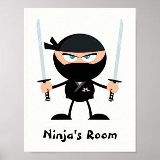 Personalized Black Belt Ninja Warrior Two Katana Poster