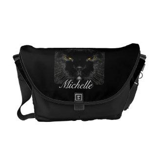 Personalized Black Cat Face Messenger Bag