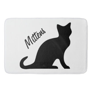 Personalized black cat non slip bathroom bath mat