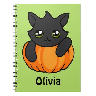 Personalized Black Cat Pumpkin Halloween Notebook