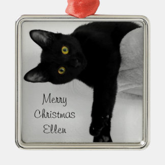 Personalized Black Cat Relaxing on Couch Christmas Ornament