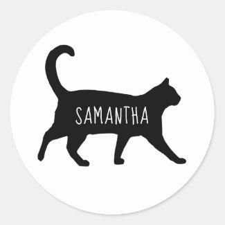 Personalized Black Cat Silhouette Classic Round Sticker