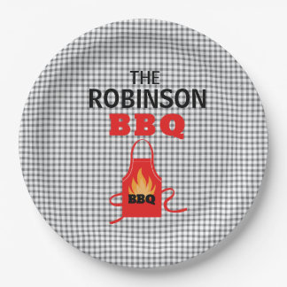 Personalized Black Checkered BBQ Paper Plates