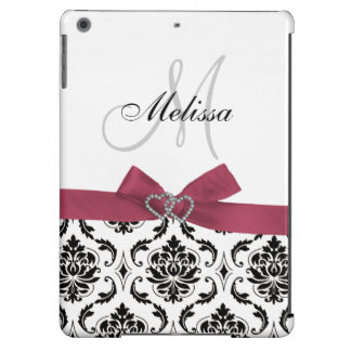 Personalized Black Damask Pink Bow Diamond Hearts iPad Air Covers
