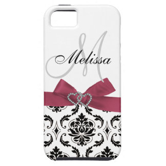 Personalized Black Damask Pink Bow Diamond Hearts iPhone 5 Covers