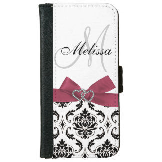 Personalized Black Damask Pink Bow Diamond Hearts iPhone 6 Wallet Case