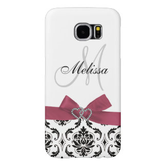Personalized Black Damask Pink Bow Diamond Hearts Samsung Galaxy S6 Cases