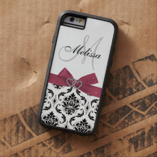 Personalized Black Damask Pink Bow Diamond Hearts Tough Xtreme iPhone 6 Case