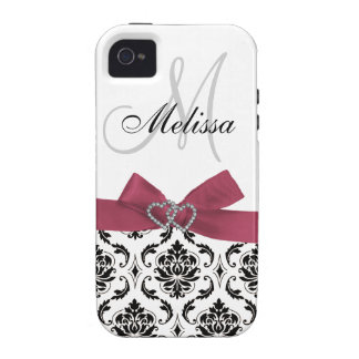 Personalized Black Damask Pink iPhone 4 Case-Mate Vibe iPhone 4 Cover