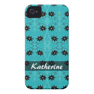 Personalized black flowers on turquoise pattern iPhone 4 covers