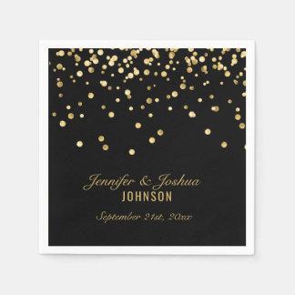 Personalized BLACK Gold Confetti Wedding   PARTY Paper Napkins