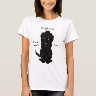 Personalized Black Goldendoodle Dog Design T-Shirt