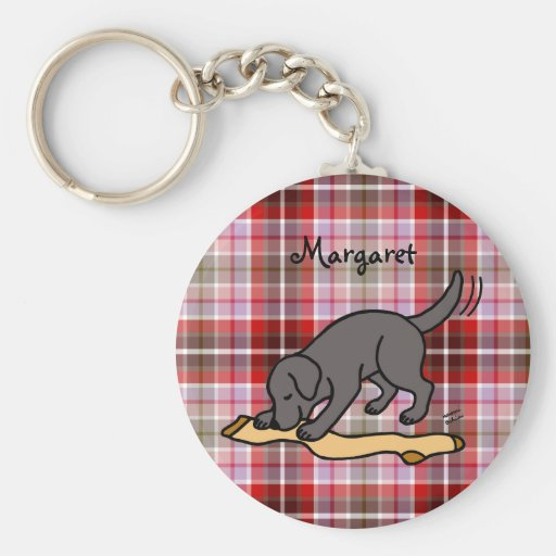 Personalized Black Lab and Stocking Key Chain