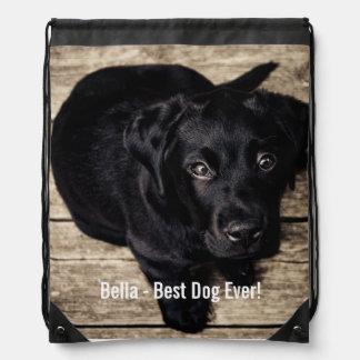 Personalized Black Lab Dog Photo and Dog Name Drawstring Bag