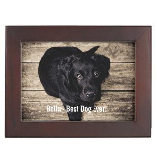 Personalized Black Lab Dog Photo and Dog Name Keepsake Box
