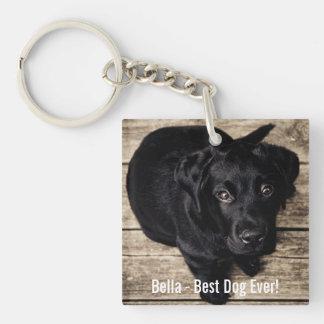 Personalized Black Lab Dog Photo and Dog Name Key Ring