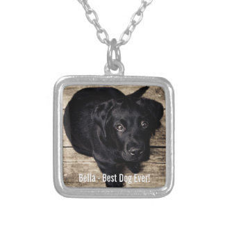 Personalized Black Lab Dog Photo and Dog Name Silver Plated Necklace