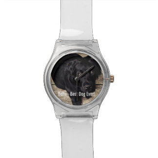 Personalized Black Lab Dog Photo and Dog Name Wrist Watch
