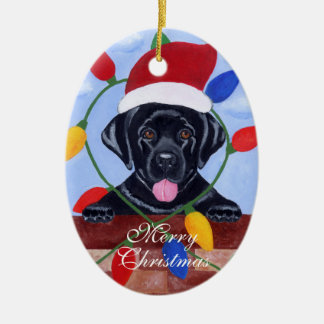 Personalized Black Lab Puppy Christmas Ornaments