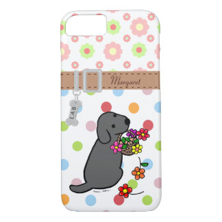 Personalized Black Lab Puppy Flowers Cartoon iPhone 7 Case