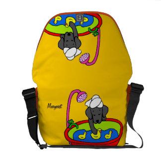 Personalized Black Lab & Rubber Ducks Cartoon Messenger Bags