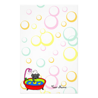 Personalized Black Lab & Rubber Ducks Cartoon Personalized Stationery