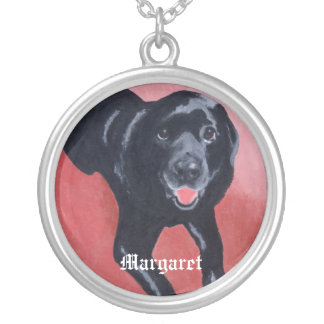 Personalized Black Labrador Smiling Silver Plated Necklace