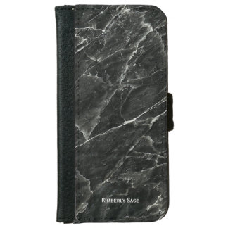 Personalized Black Marble iPhone 6 Wallet Case