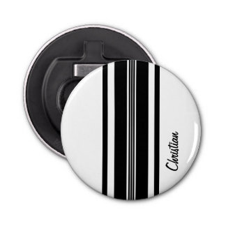 Personalized Black Modern Racing Stripes Bottle Opener
