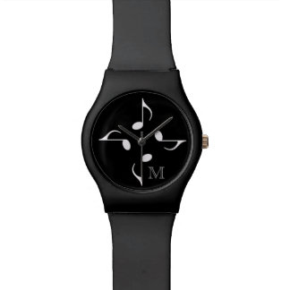 personalized black music notes watch