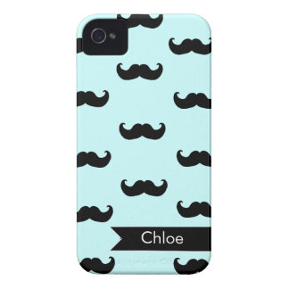 Personalized Black Mustache Pattern on baby blue Case-Mate iPhone 4 Case
