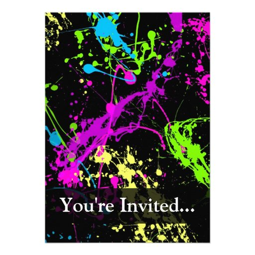 Personalized Black/Neon Splatter Invite