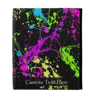 Personalized Black Neon Splatter iPad Case