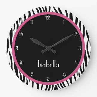 Personalized Black, Pink and Zebra Print Clock