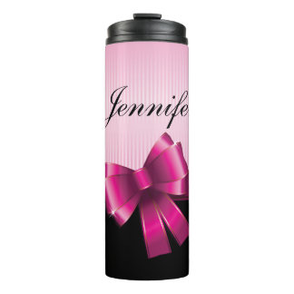 Personalized Black PINK GRADIENT Stripes PINK BOW Thermal Tumbler