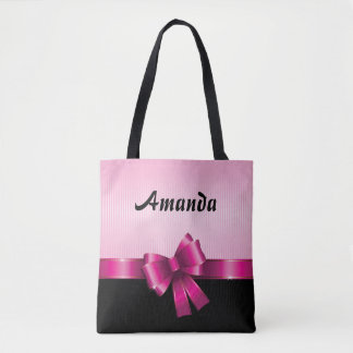 Personalized Black PINK GRADIENT Stripes PINK BOW Tote Bag