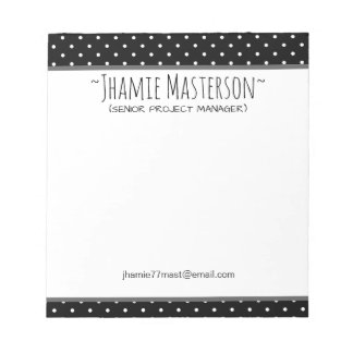 Personalized Black Polka Dot Notepad