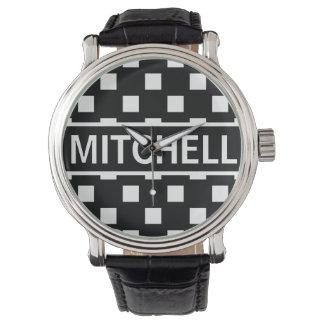 Personalized Black Polka Square BCF Wristwatches