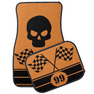 Personalized Black Skull Racing Flags Stripes Floor Mat