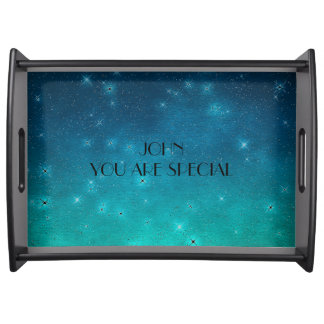 Personalized Black Sparkly Serving Trays