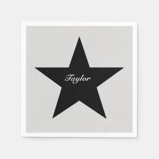 Personalized Black Star Print Paper Napkin