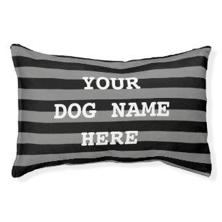 Personalized black stripe pattern dog bed