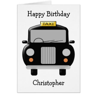 Personalized Black Taxi Birthday Greeting Card