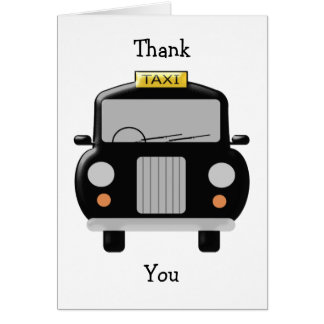 Personalized Black Taxi Thank You Note Card