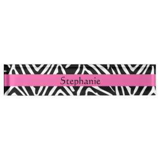 Personalized Black, White and Hot Pink Zebra Print Name Plate