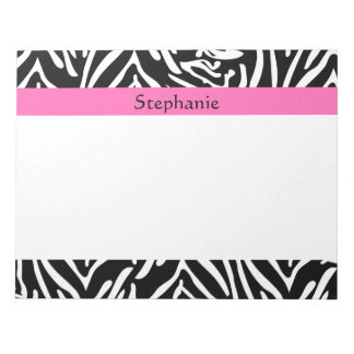 Personalized Black, White and Hot Pink Zebra Print Notepad