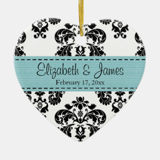 Personalized Black White Blue Damask Wedding Favor Christmas Ornament