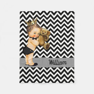 Personalized Black White Chevrons Prince Nursery Fleece Blanket